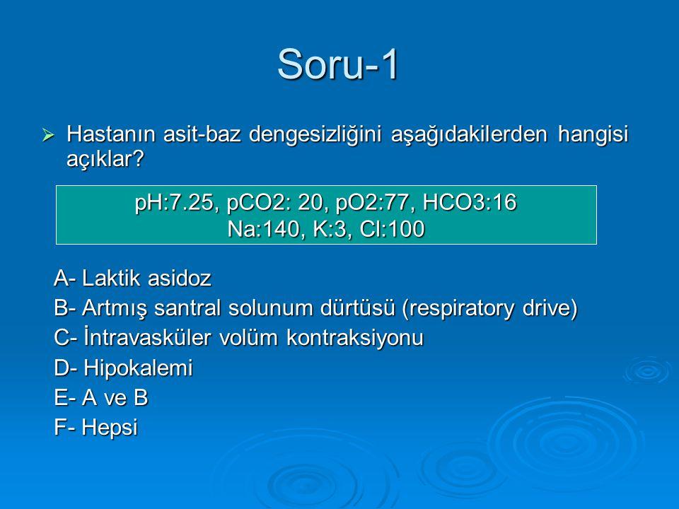 Soru-1 Hastanın asit-baz dengesizliğini aşağıdakilerden hangisi açıklar A- Laktik asidoz. B- Artmış santral solunum dürtüsü (respiratory drive)