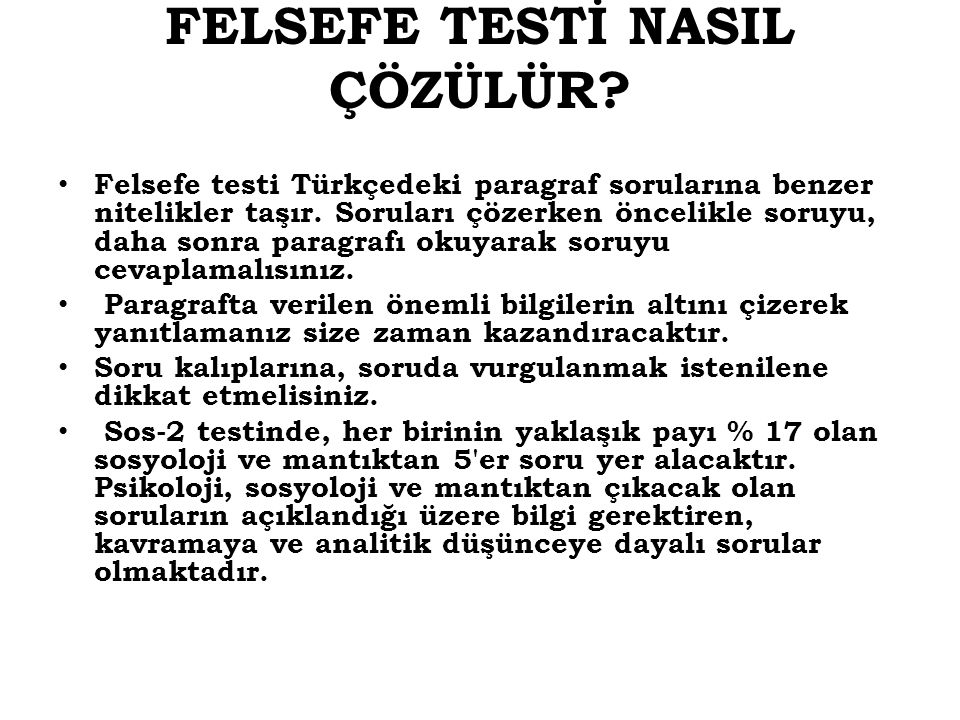 FELSEFE TESTİ NASIL ÇÖZÜLÜR