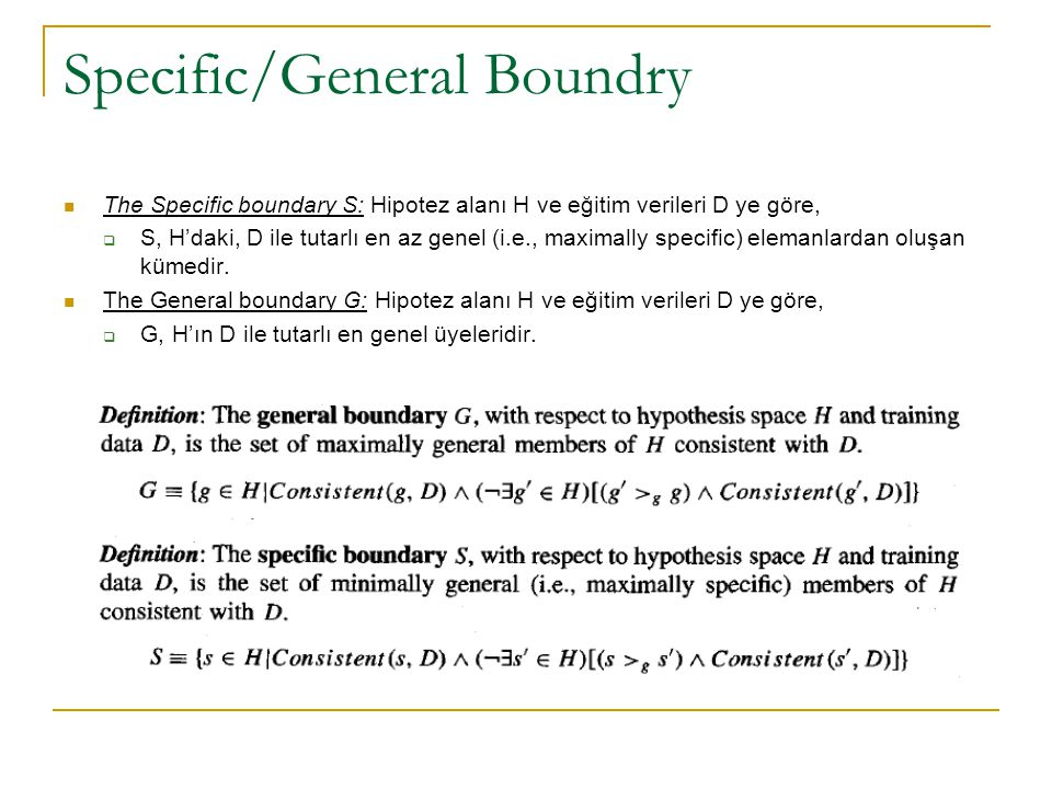 Specific/General Boundry