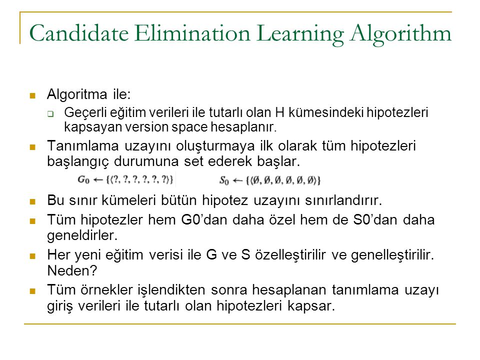 Candidate Elimination Learning Algorithm