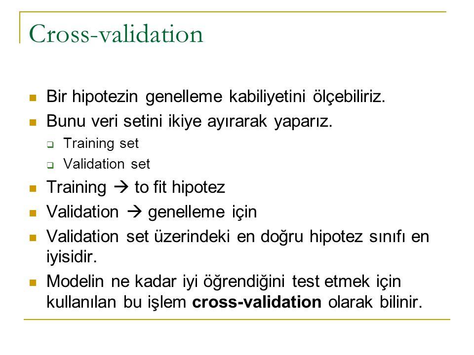 Cross-validation Bir hipotezin genelleme kabiliyetini ölçebiliriz.