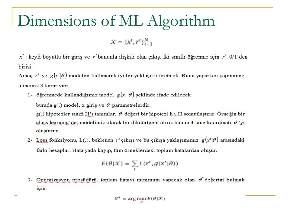 Dimensions of ML Algorithm