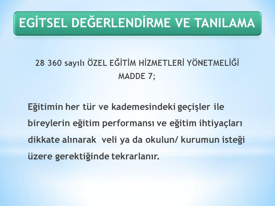 28 360 sayılı ÖZEL EĞİTİM HİZMETLERİ YÖNETMELİĞİ