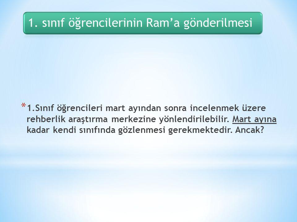 1. sınıf öğrencilerinin Ram'a gönderilmesi