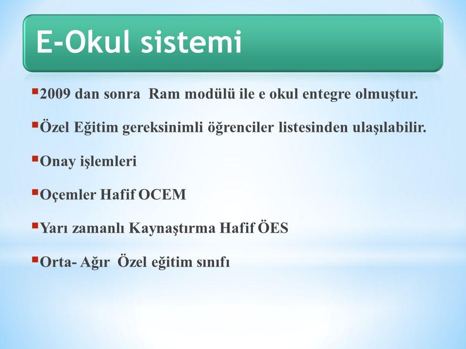 E-Okul sistemi 2009 dan sonra Ram modülü ile e okul entegre olmuştur.