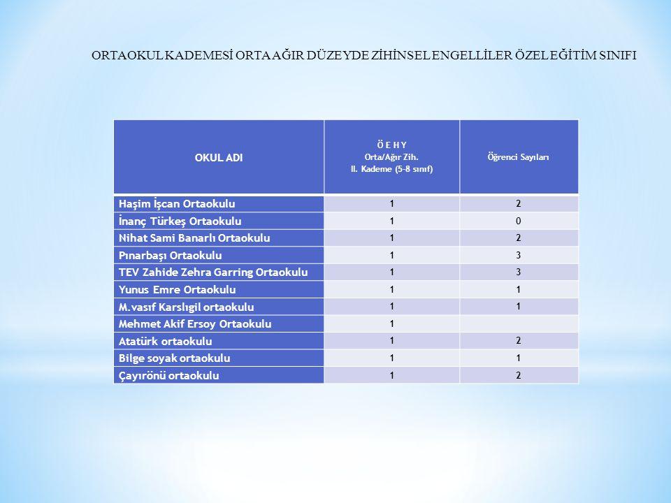 Ö E H Y Orta/Ağır Zih. II. Kademe (5-8 sınıf)