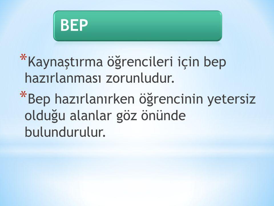 BEP Kaynaştırma öğrencileri için bep hazırlanması zorunludur.