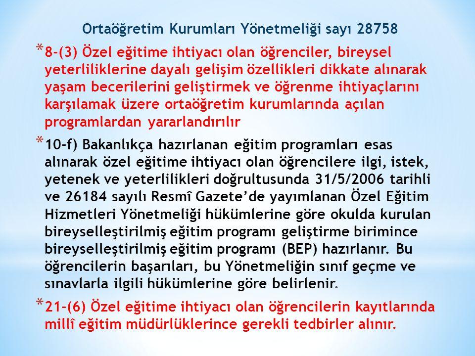Ortaöğretim Kurumları Yönetmeliği sayı 28758