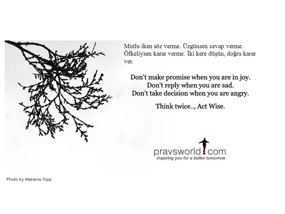 Mutlu iken söz verme. Üzgünsen cevap verme. Öfkeliysen karar verme