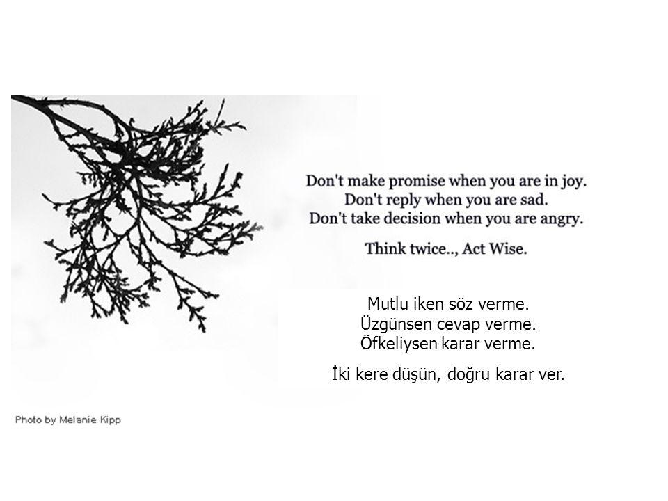 Mutlu iken söz verme. Üzgünsen cevap verme. Öfkeliysen karar verme.