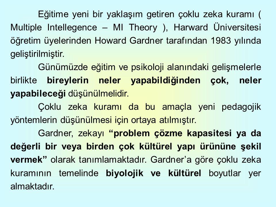 Eğitime yeni bir yaklaşım getiren çoklu zeka kuramı ( Multiple Intellegence – MI Theory ), Harward Üniversitesi öğretim üyelerinden Howard Gardner tarafından 1983 yılında geliştirilmiştir.