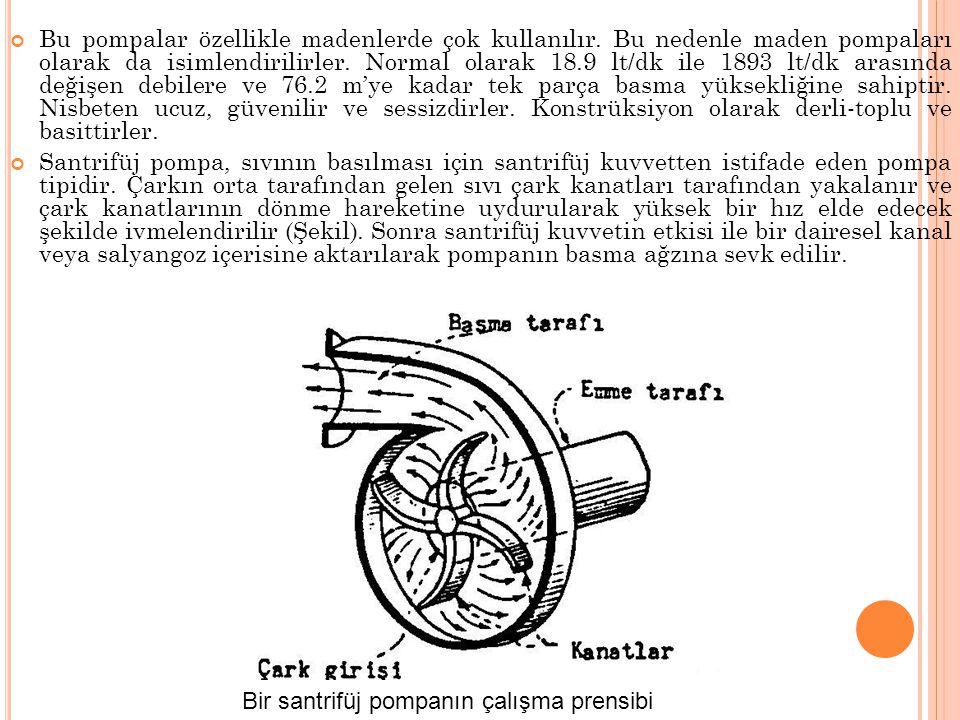 Bu pompalar özellikle madenlerde çok kullanılır