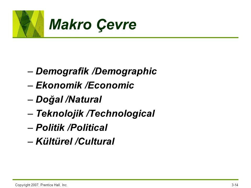 Makro Çevre Demografik /Demographic Ekonomik /Economic Doğal /Natural