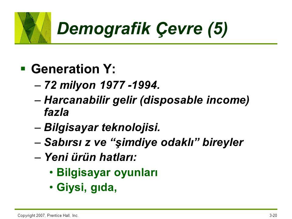 Demografik Çevre (5) Generation Y: 72 milyon 1977 -1994.
