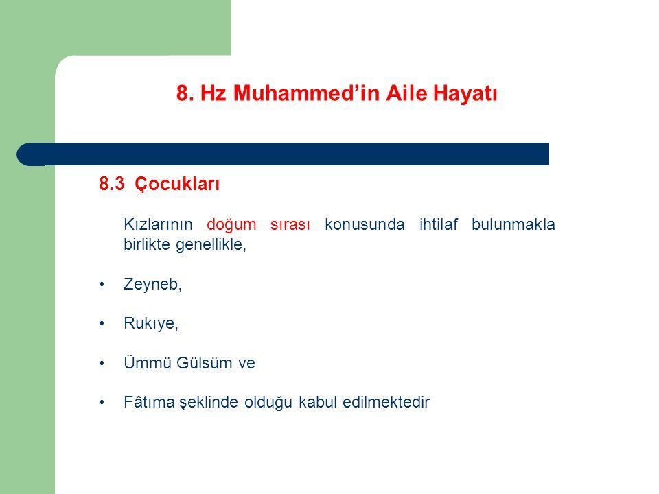 8. Hz Muhammed'in Aile Hayatı