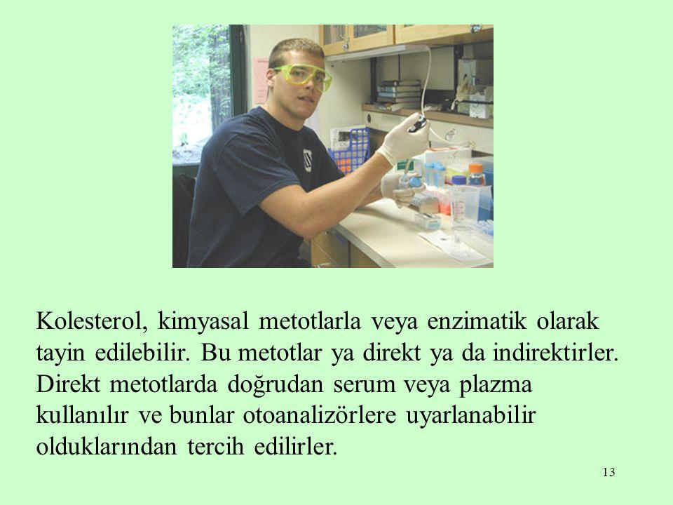 Kolesterol, kimyasal metotlarla veya enzimatik olarak tayin edilebilir