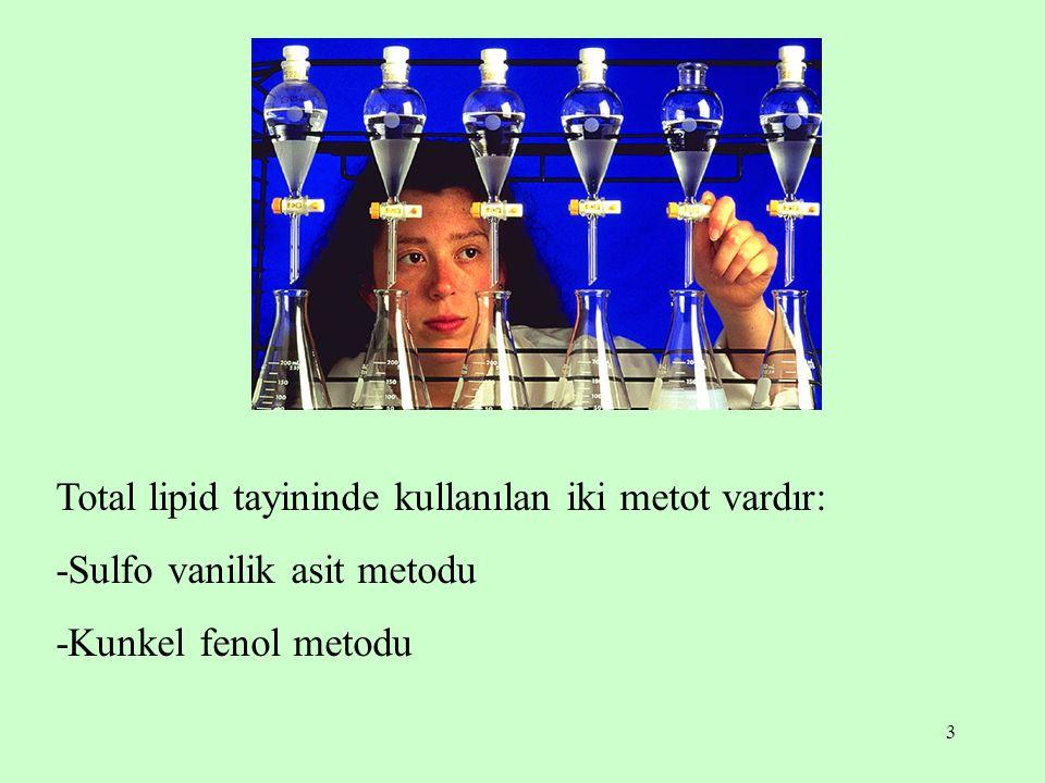 Total lipid tayininde kullanılan iki metot vardır: