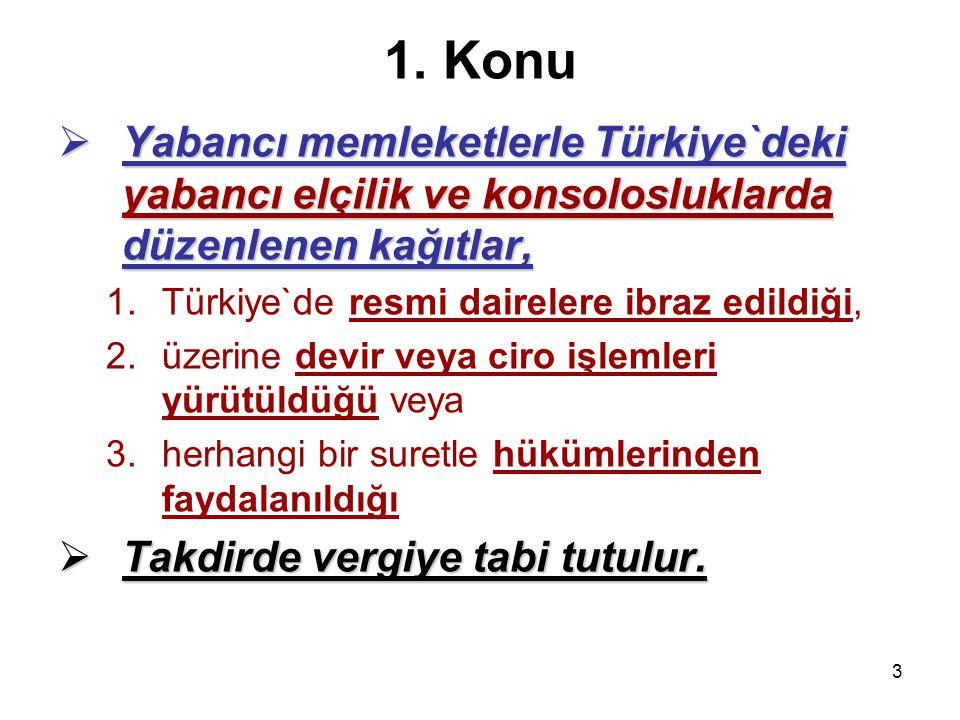 1. Konu Yabancı memleketlerle Türkiye`deki yabancı elçilik ve konsolosluklarda düzenlenen kağıtlar,