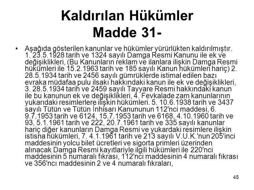 Kaldırılan Hükümler Madde 31-