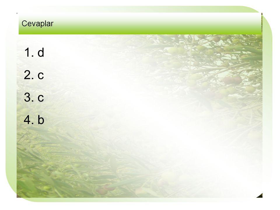 Cevaplar 1. d 2. c 3. c 4. b