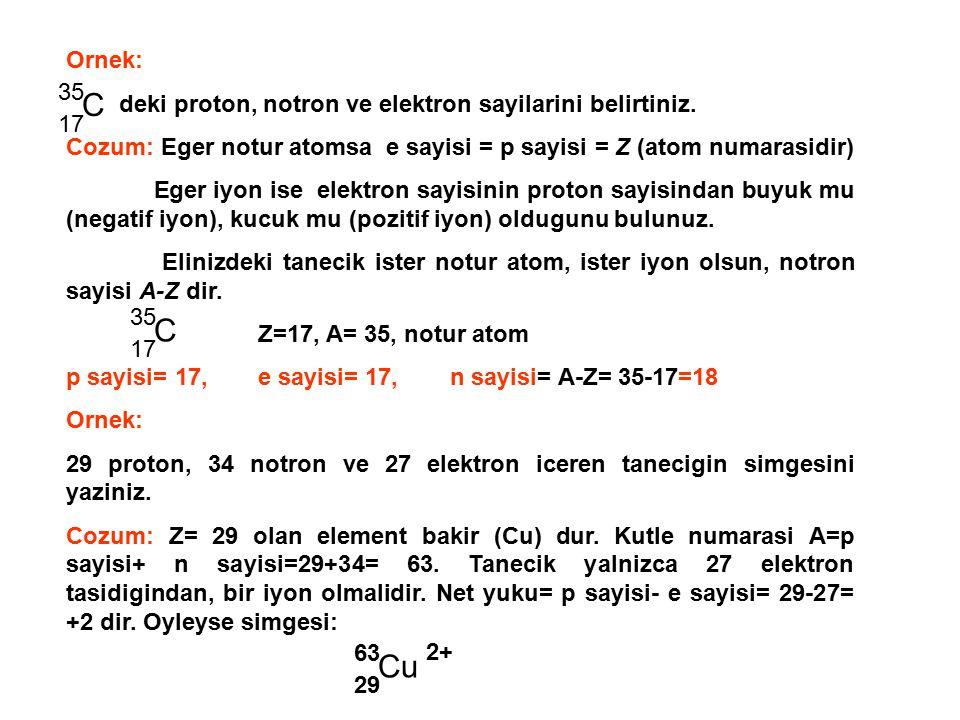 C C Cu Ornek: deki proton, notron ve elektron sayilarini belirtiniz.