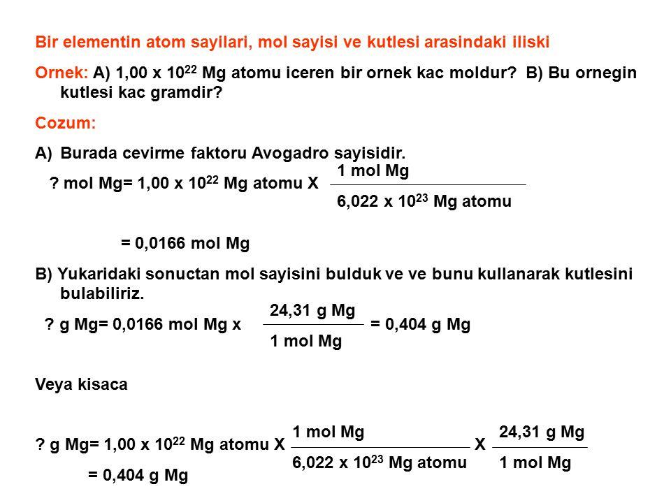 Bir elementin atom sayilari, mol sayisi ve kutlesi arasindaki iliski