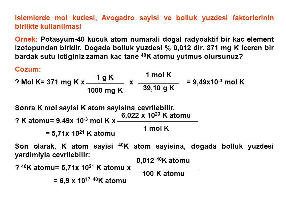 Islemlerde mol kutlesi, Avogadro sayisi ve bolluk yuzdesi faktorlerinin birlikte kullanilmasi