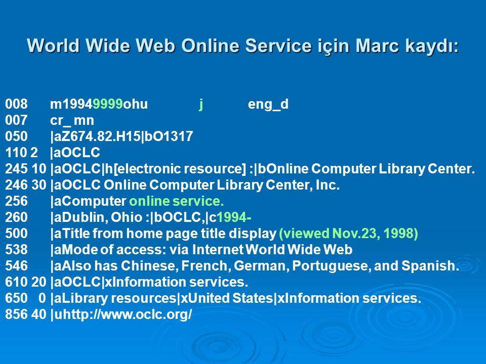 World Wide Web Online Service için Marc kaydı: