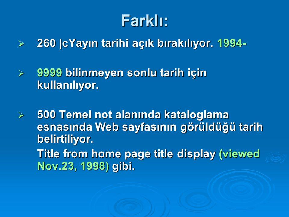 Farklı: 260 |cYayın tarihi açık bırakılıyor. 1994-