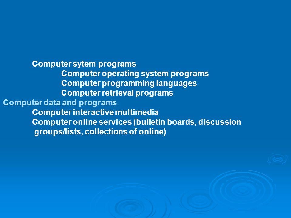 Computer sytem programs