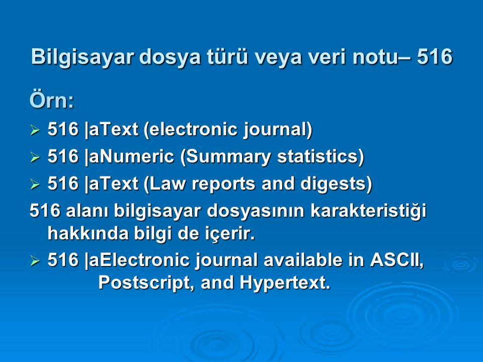 Bilgisayar dosya türü veya veri notu– 516