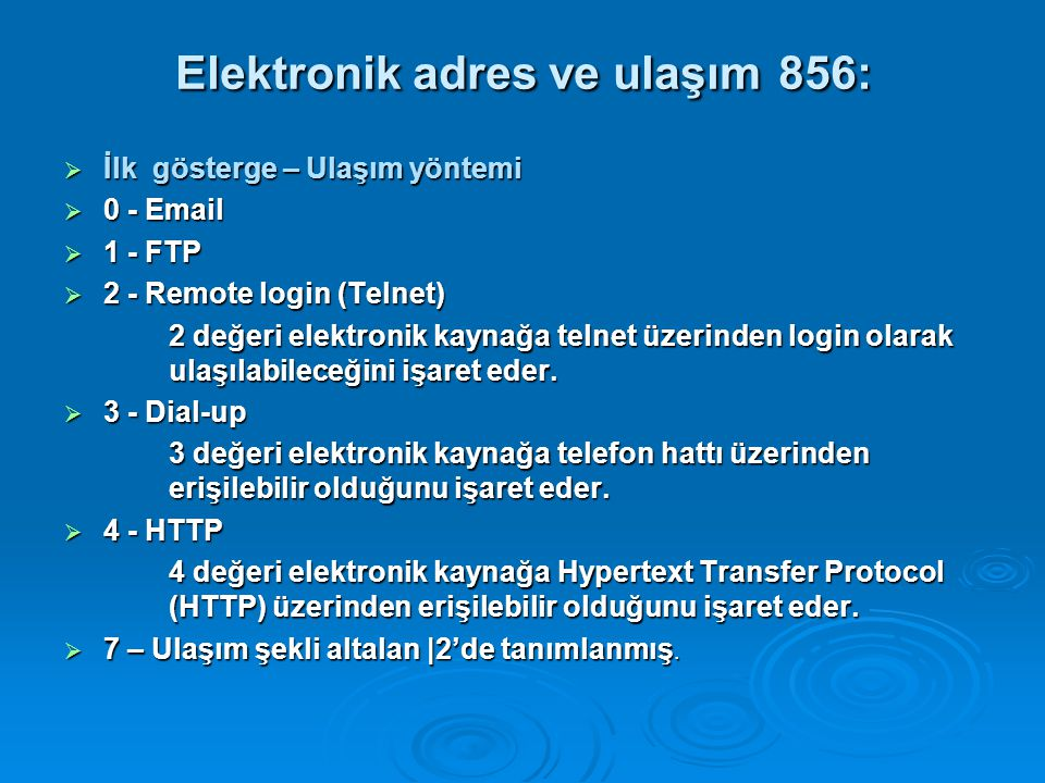 Elektronik adres ve ulaşım 856:
