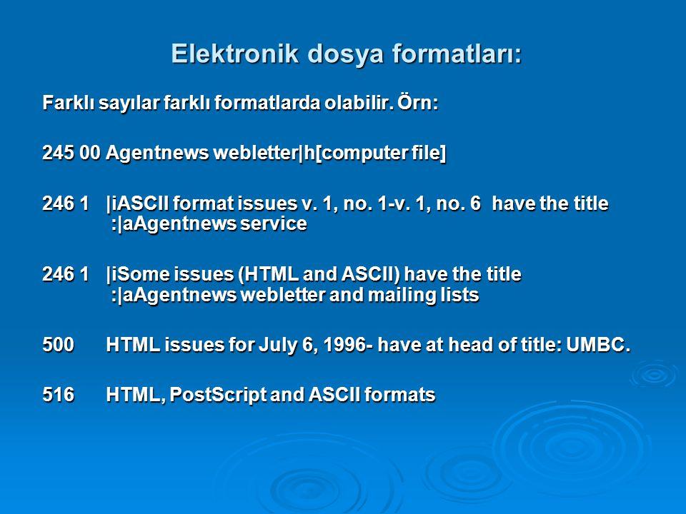 Elektronik dosya formatları: