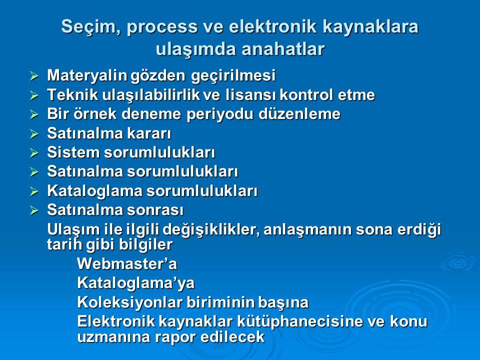 Seçim, process ve elektronik kaynaklara ulaşımda anahatlar