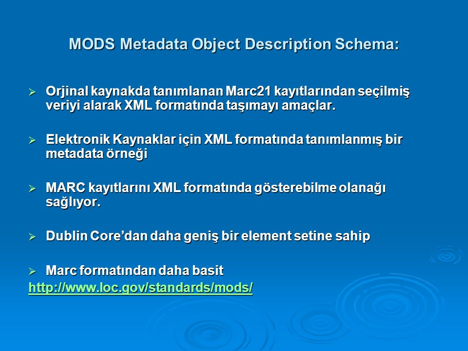 MODS Metadata Object Description Schema:
