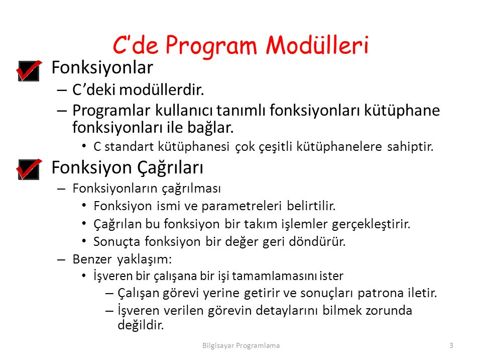 C'de Program Modülleri