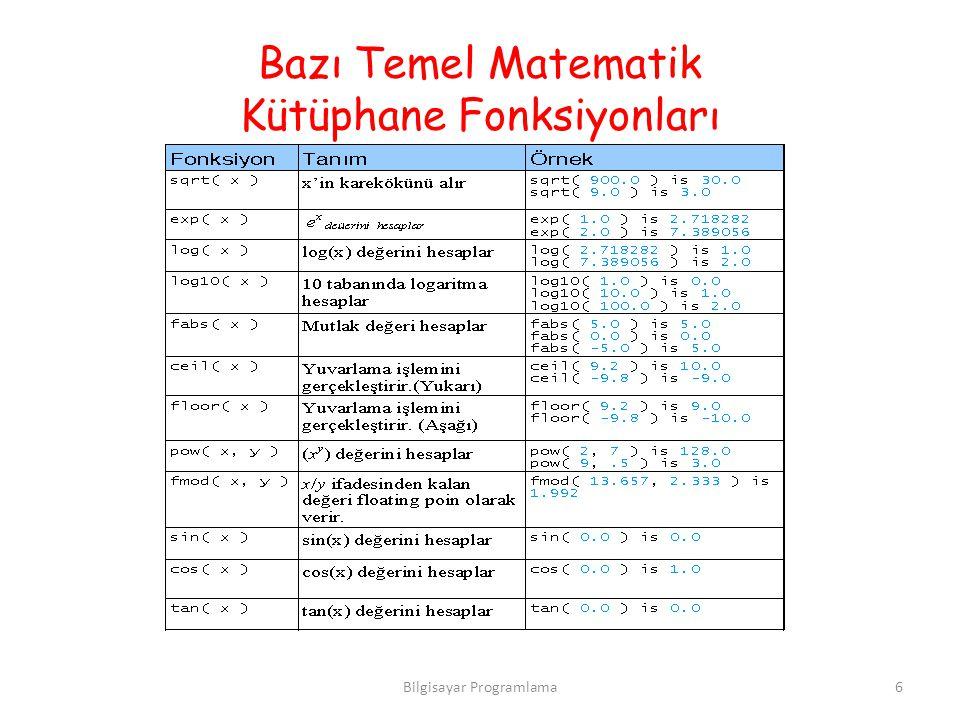 Bazı Temel Matematik Kütüphane Fonksiyonları