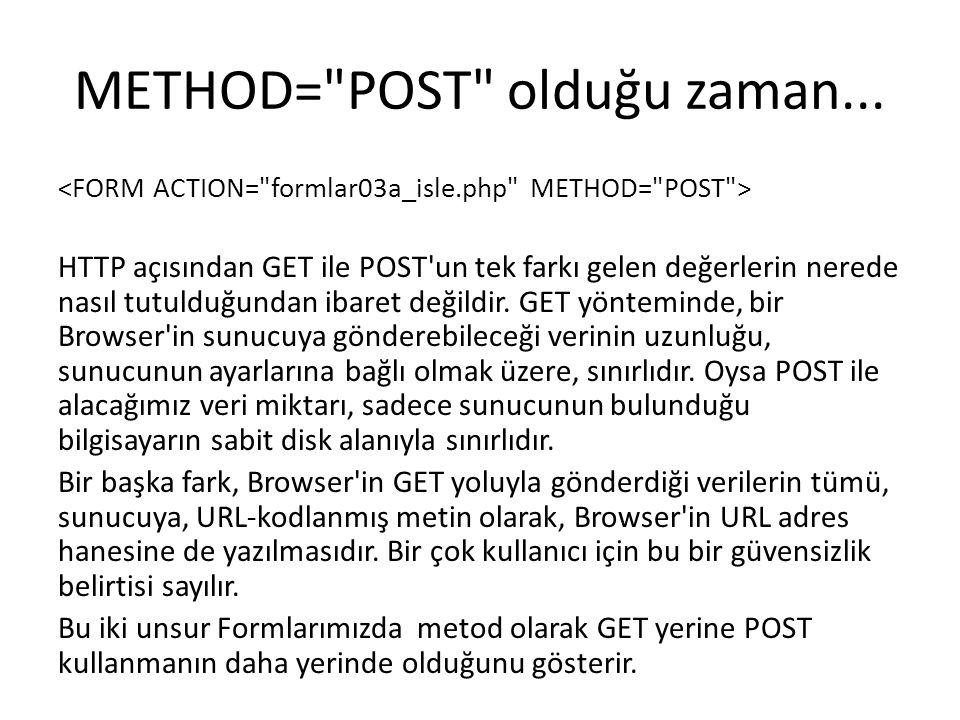 METHOD= POST olduğu zaman...