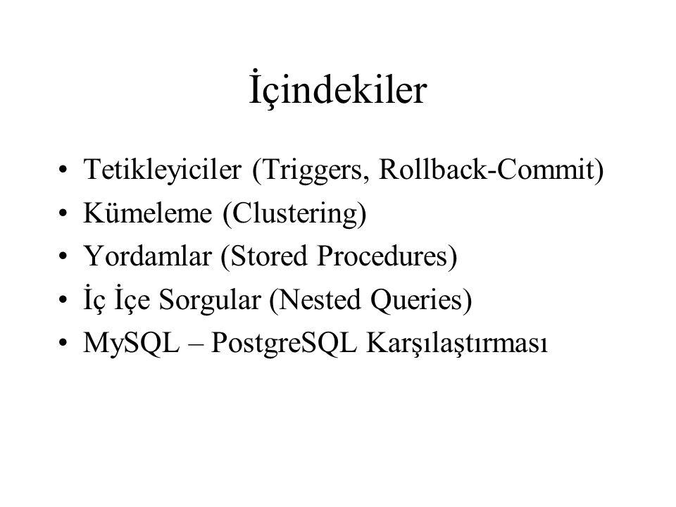 İçindekiler Tetikleyiciler (Triggers, Rollback-Commit)