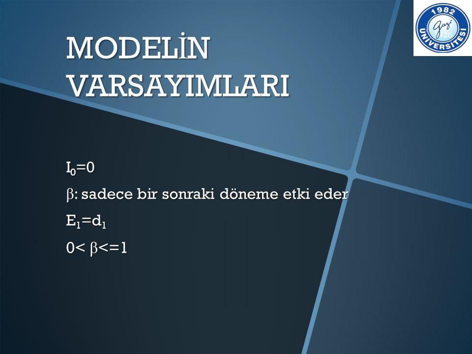 MODELİN VARSAYIMLARI 0< β<=1 I0=0
