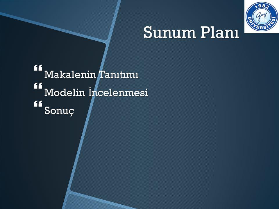 Sunum Planı Makalenin Tanıtımı Modelin İncelenmesi Sonuç