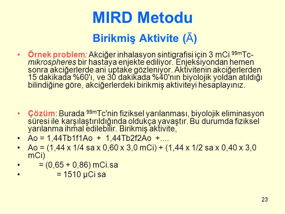 MIRD Metodu Birikmiş Aktivite (Ã)