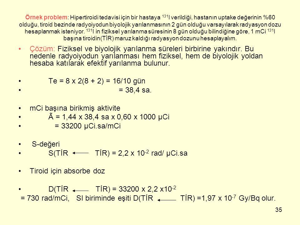 mCi başına birikmiş aktivite à = 1,44 x 38,4 sa x 0,60 x 1000 μCi