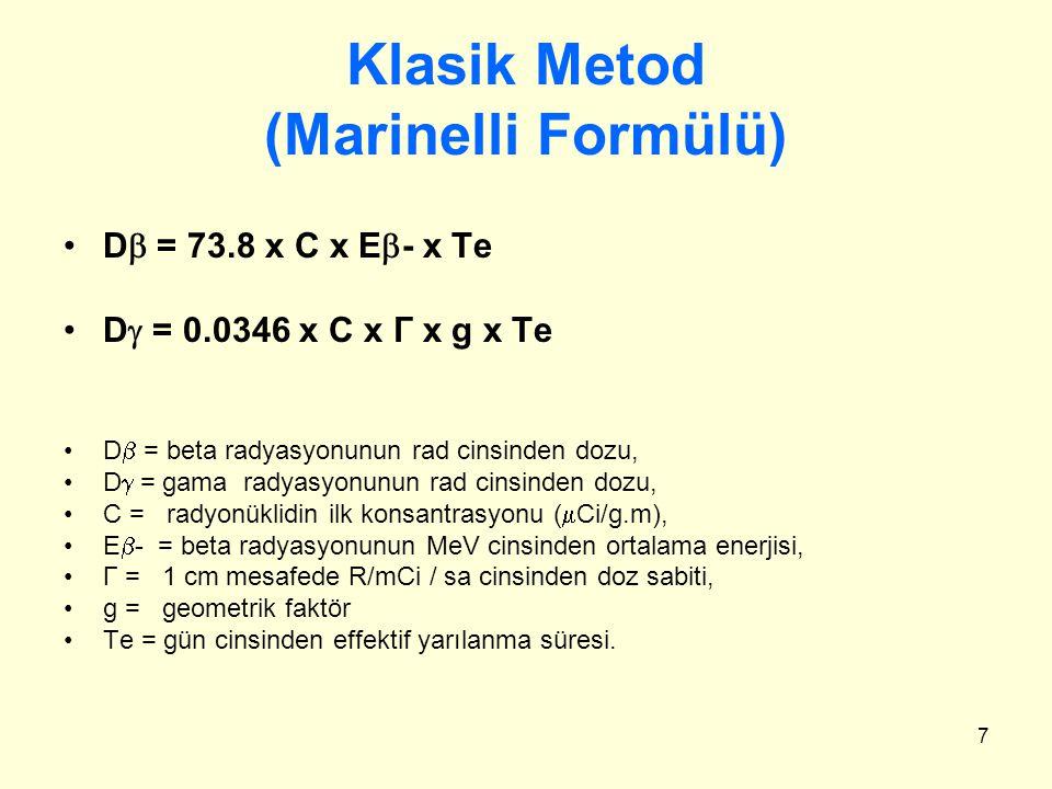 Klasik Metod (Marinelli Formülü)