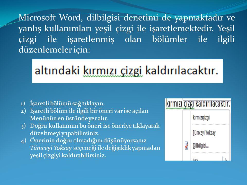 Microsoft Word, dilbilgisi denetimi de yapmaktadır ve yanlış kullanımları yeşil çizgi ile işaretlemektedir. Yeşil çizgi ile işaretlenmiş olan bölümler ile ilgili düzenlemeler için: