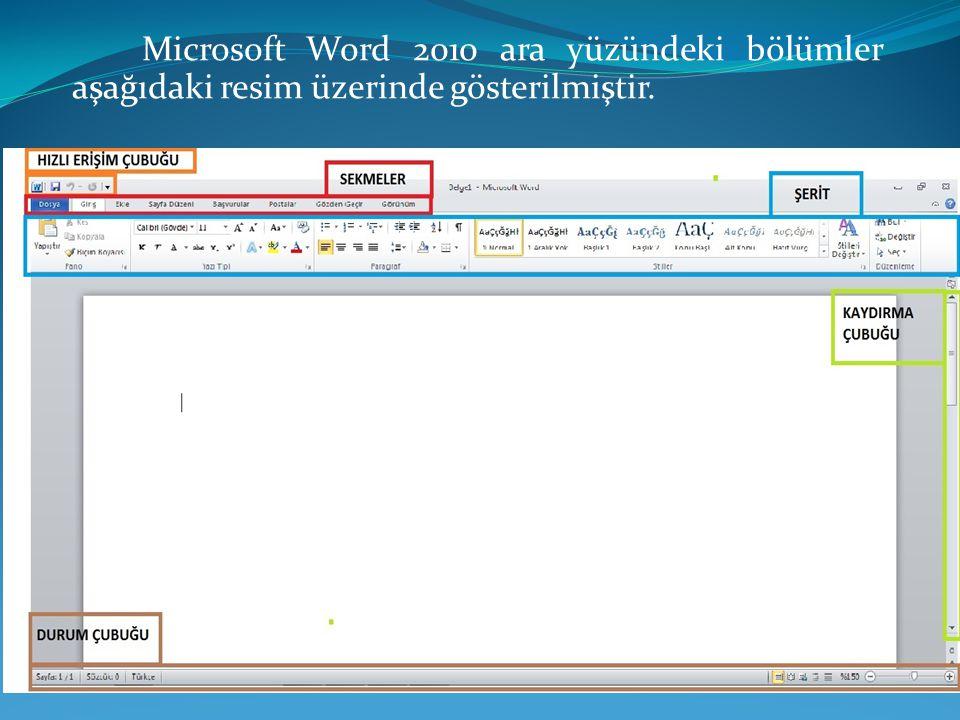 Microsoft Word 2010 ara yüzündeki bölümler aşağıdaki resim üzerinde gösterilmiştir.