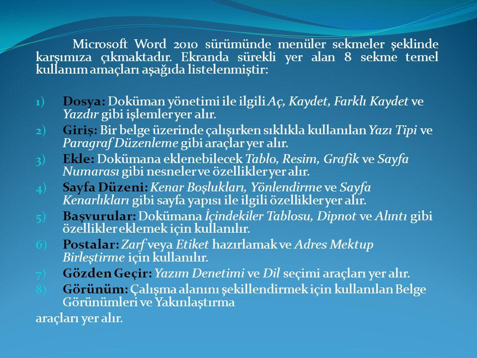 Microsoft Word 2010 sürümünde menüler sekmeler şeklinde karşımıza çıkmaktadır. Ekranda sürekli yer alan 8 sekme temel kullanım amaçları aşağıda listelenmiştir: