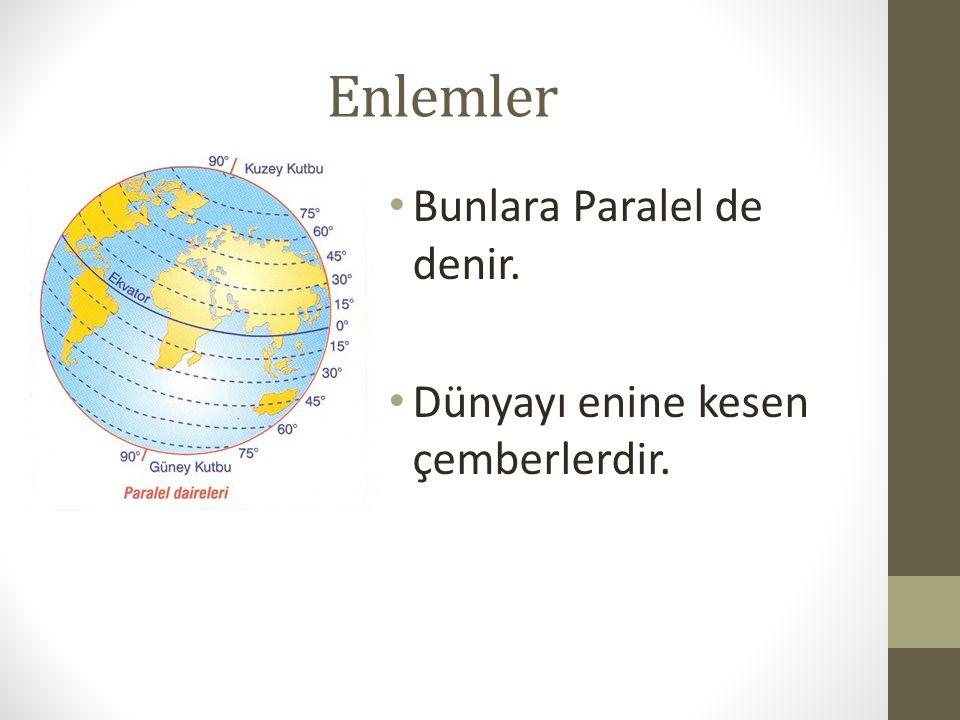 Enlemler Bunlara Paralel de denir. Dünyayı enine kesen çemberlerdir.
