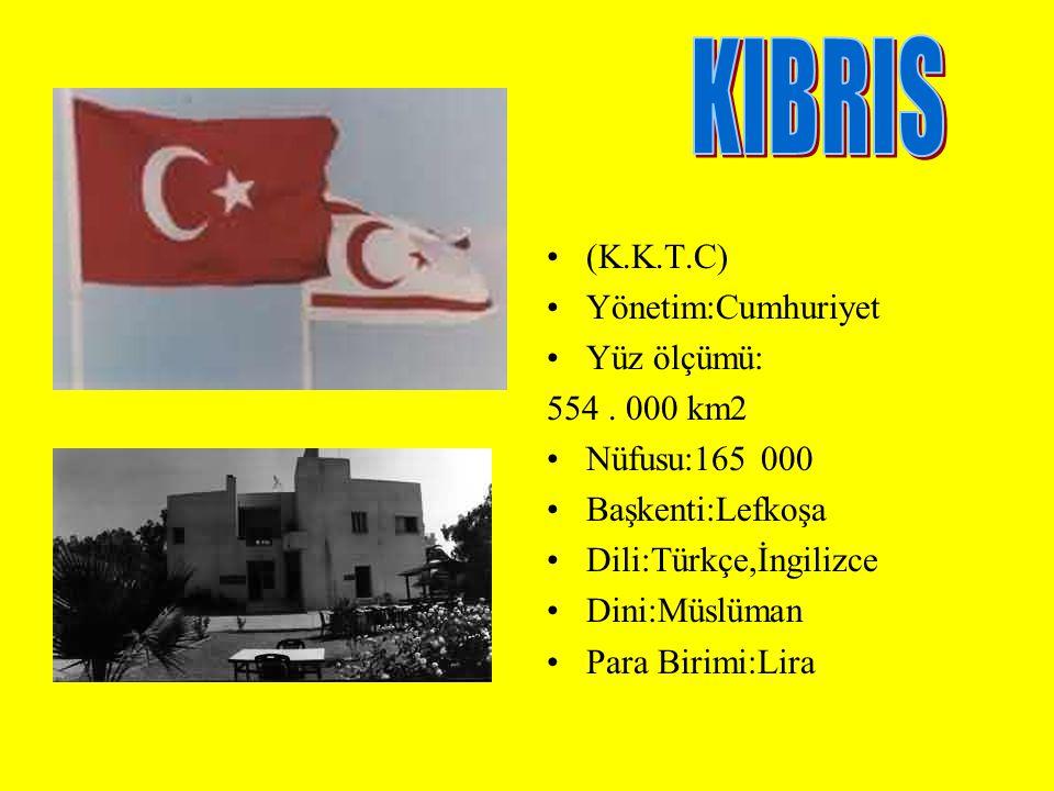 KIBRIS (K.K.T.C) Yönetim:Cumhuriyet Yüz ölçümü: 554 . 000 km2