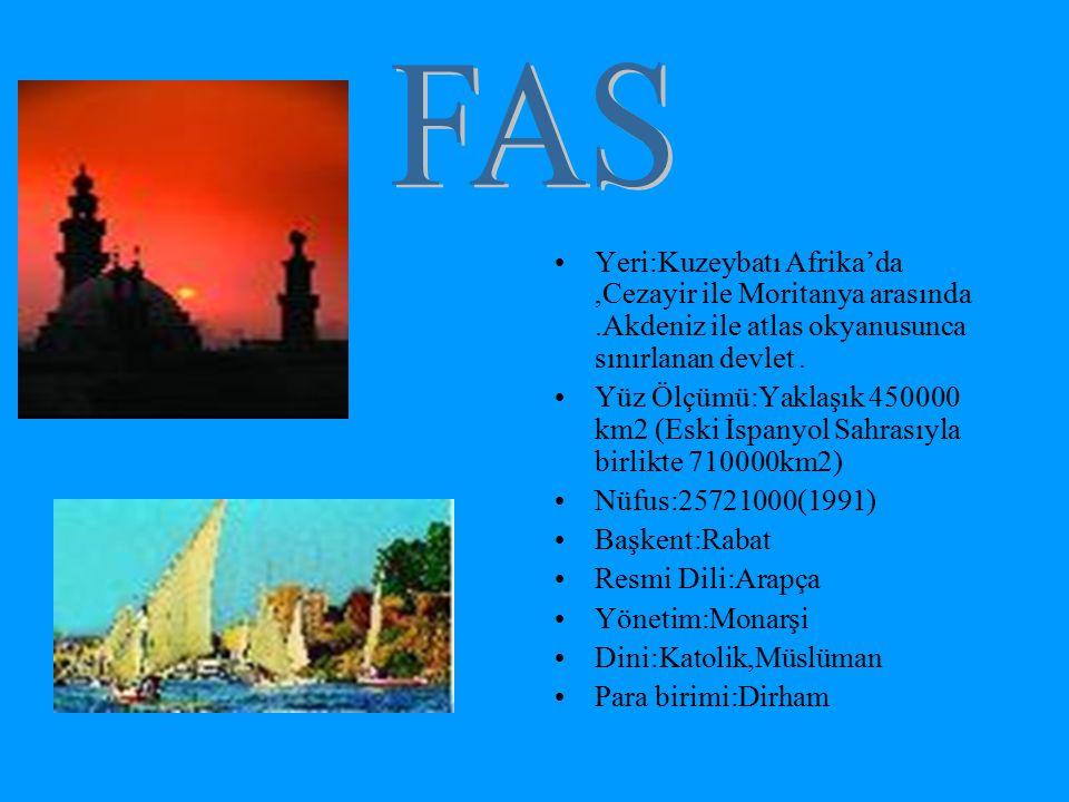 FAS Yeri:Kuzeybatı Afrika'da ,Cezayir ile Moritanya arasında .Akdeniz ile atlas okyanusunca sınırlanan devlet .